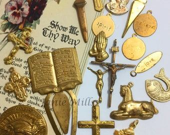 Religious pack of brass charms and stampings 19 pieces plus prayer card