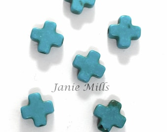 Cross Turquoise Howlite Bead package of 8