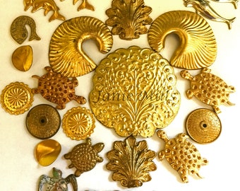Beach pack of brass charms and stampings 23 pieces Ocean Stamping