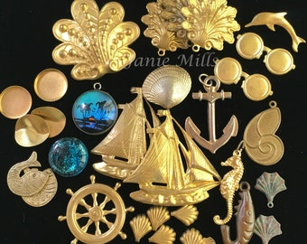 Nautical pack of brass charms and stampings 31 pieces