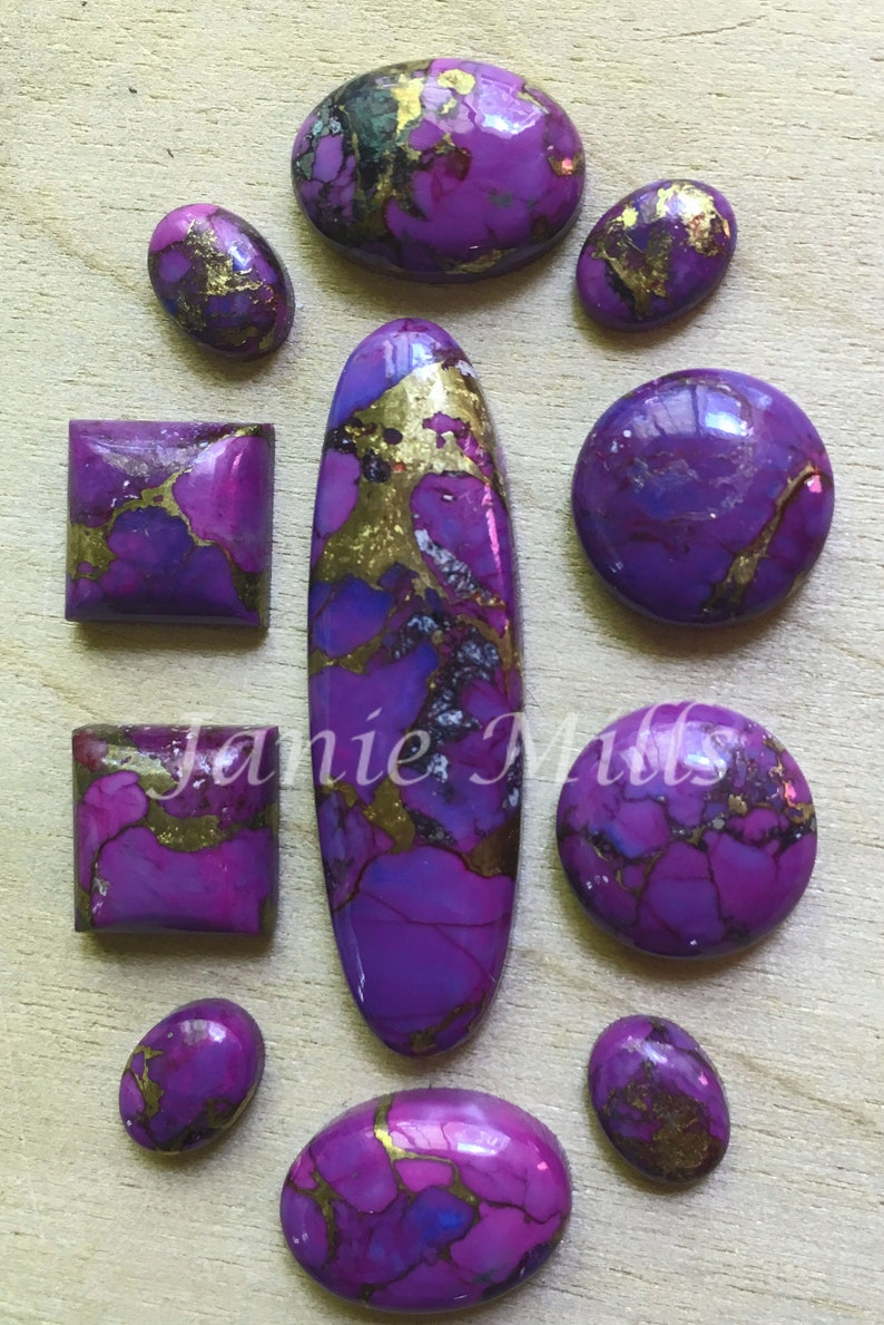 Mojave Purple Turquoise Copper Cabochon 10mm round 12mm round image 0