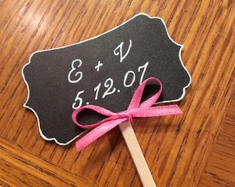 Handprinted Elegant Cupcake Topper (8 pieces)