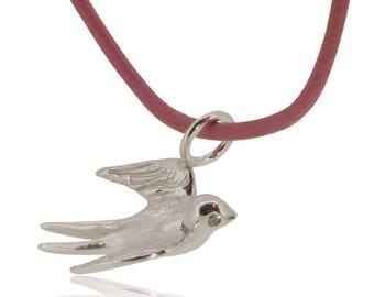 Swallow pendant sterling silver with sparkling eyes on zirconia on leather strap red, pink, mother of pearl, light blue, dark blue, pacific