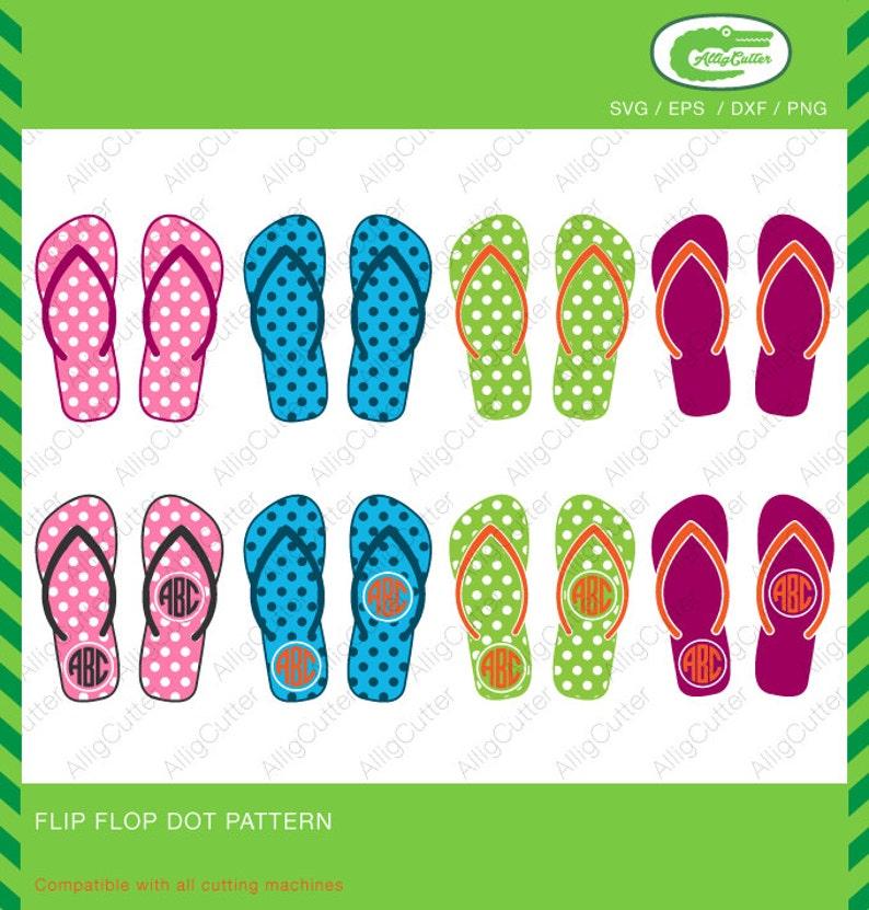 f3712e0c7 Flip Flop Dot Pattern Monogram Frames SVG DXF PNG eps Summer