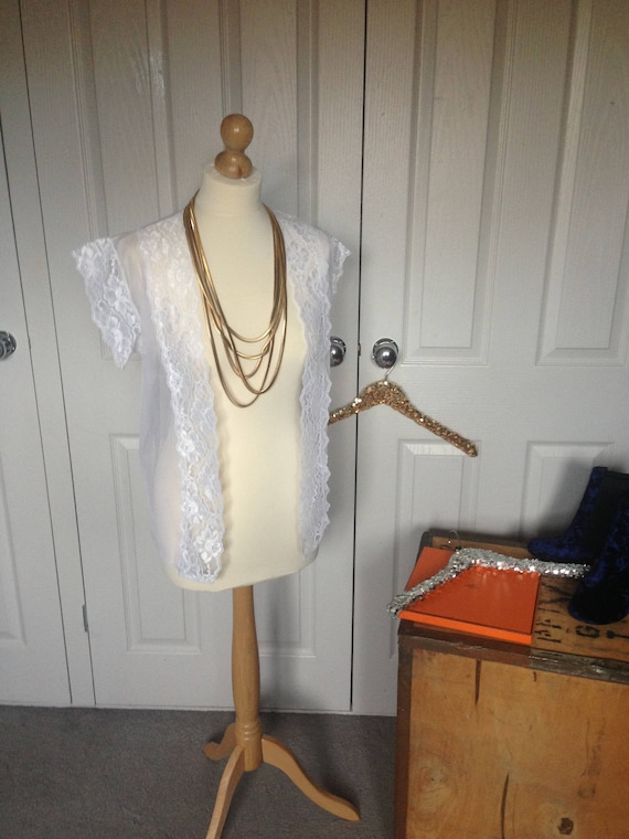 751f19614a True Vintage White Lace See Through Bed Jacket Sexy Day Time   Etsy