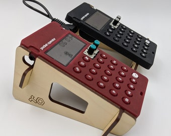 """Pocket Operator Double Rack with Cable - Angled Stand holds any TWO Teenage Engineering PO models - INCLUDES 6"""" Connector Cable!"""