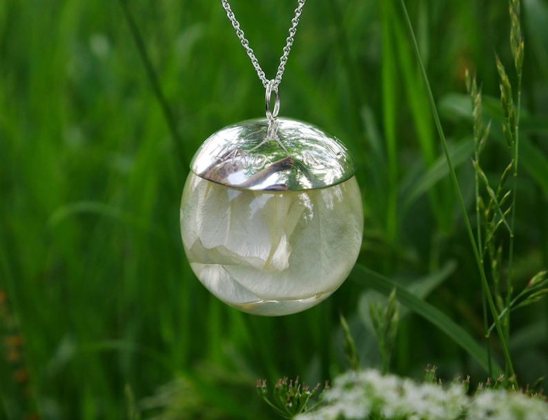 Jacobite white rose sterling silver necklace handmade in Scotland