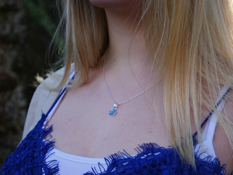 Isle of Arran forget me not sterling silver flat necklace handmade in Scotland
