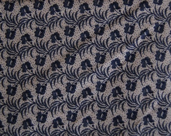 """Almost 1 yard Tan and Black Cotton Quilting Fabic 34"""" X 44"""" Calico"""