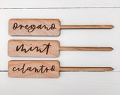 garden markers - herb stakes - herb markers - vegetable names - garden stakes - wooden garden labels plant labels - plant stakes