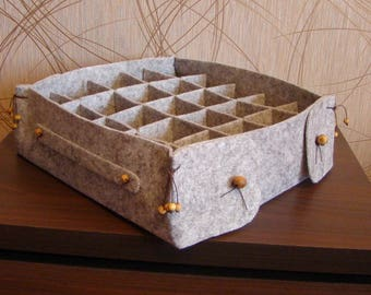 Felt basket for storage with natural wooden parts - Large basket for storage of small things, Organizer for storing yarn, thread needlework