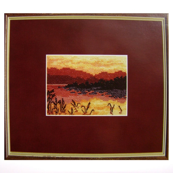 Cross stitch kit, Red landscape, Red landscape, Evening landscape, Modern cross stitch design, Wall decor, Gift for a woman