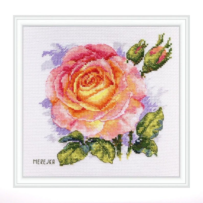 Modern Cross Stitch Design Floral Embroidery Gift for Woman Rose Cross Stitch Kit Wall Decor Floral Cross Stitch