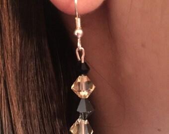 Yellow and Black Swarvoski Earrings
