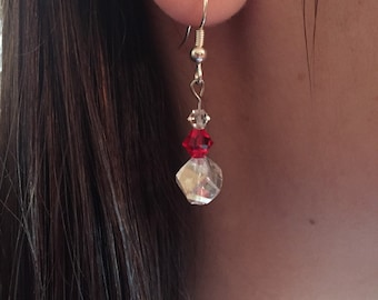 Red and Clear Swarvoski crystal and glass earrings