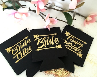 Team Bride Cooler, Bachelorette Party Can Cover, Wedding beer holder, Bridal party gift, Stubby Holder, Bride Tribe, Team Bride, Arrow