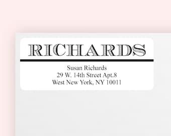 100 pcs Stripped Last Name Return Address Labels (MICMC13S)