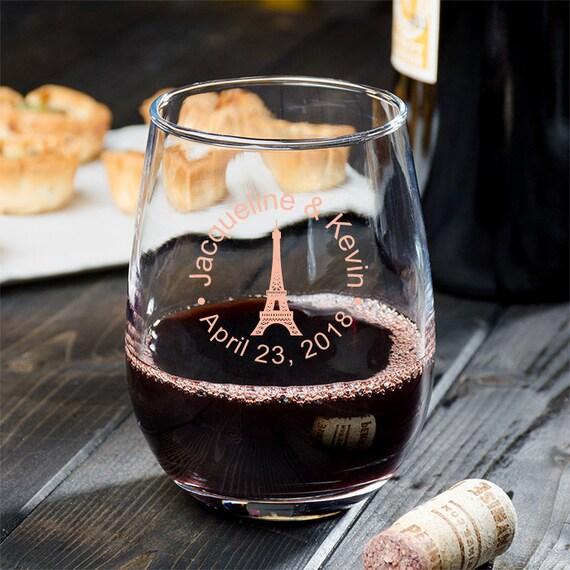 757ca984162 24 pcs Paris Personalized 9 oz Stemless Wine Glass Eiffel | Etsy