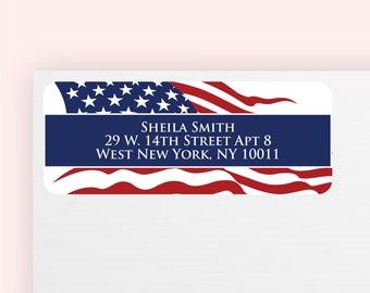 100 pcs American Flag Return Address Labels (MICMC13Q)
