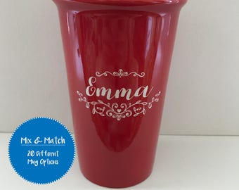Name with Decorative Floral Design, Personalized Coffee Mug, Custom Travel Mug