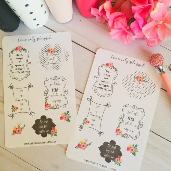 Positive Affirmations Planner Stickers Daily Affirmations Inspirational Quotes Self Care Die Cuts Journaling Cards Decorative