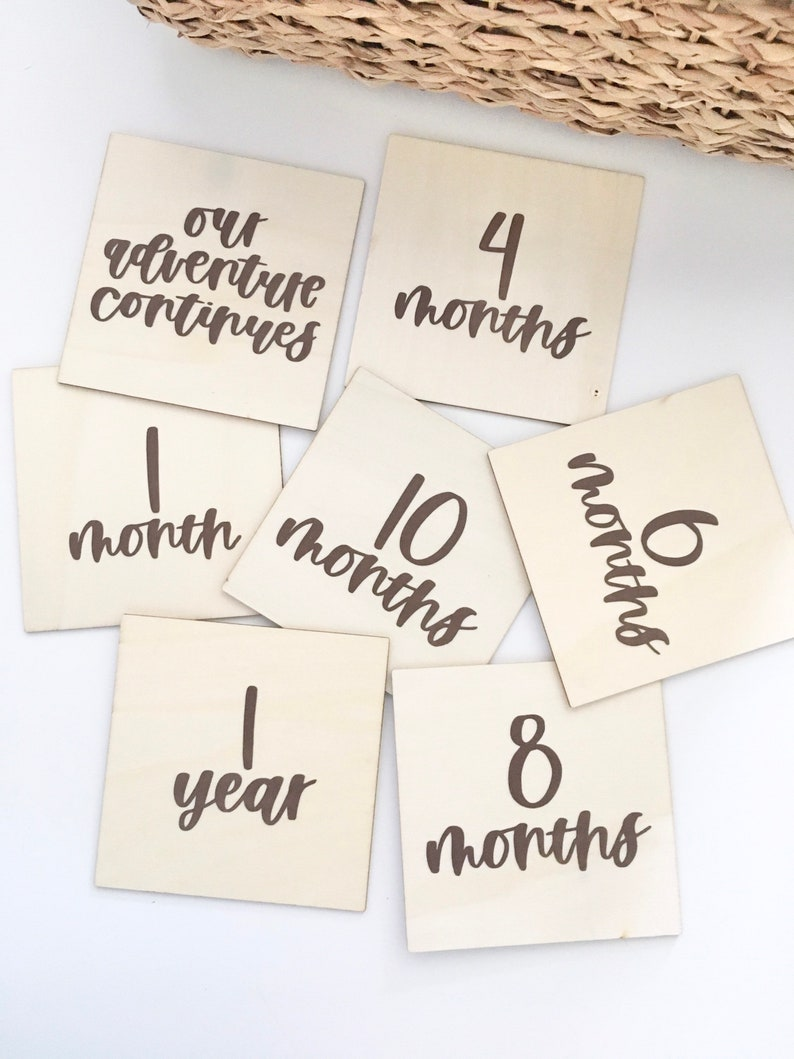 HUDSON Gifts for New Moms Baby Announcement Milestone Month Signs Month Markers INCLUDES Pregnancy and Birth Sign