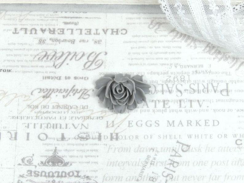 1 Gray Rose Cabochon 40mm Rose Cabochon Large Rose Flatback