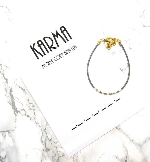 karma morse code bracelet friendship bracelet dainty fine