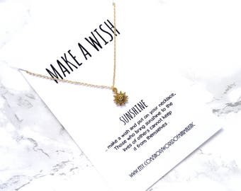 Sun necklace, sun jewelry, simple delicate necklace, dainty minimalist wish necklace, boho chain necklace, make a wish gift necklace