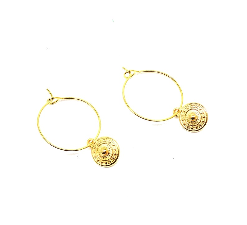 bohemian coin earrings coins jewelry dainty minimalist gold earring simple gold coin earring Coin hoop earrings coin jewelry