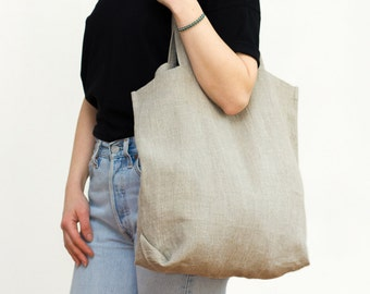 linen tote bag / natural flax / packable and lightweight / eco friendly