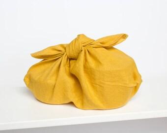 azuma bukuro linen bag / bento bag / origami / reusable gift wrap / mustard yellow