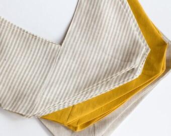 azuma bukuro linen bag / bento bag / origami / reusable gift wrap / neutral stripe