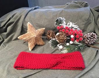 Crocheted Red Headband / Earwarmer