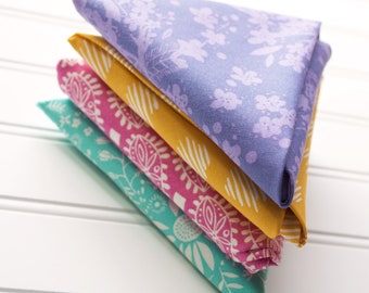Fat Quarter Bundle of Four - Teal, Magenta, Yellow and Purple - Moda Fabric - Crystal Manning