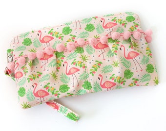 Pleated Flamingo Clutch With Pom Pom Accent | Exclusive Print