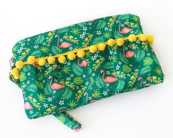 Pleated Flamingo Clutch With Pom Pom Accent | Green and Pink | Exclusive Print