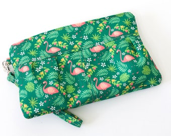 Pleated Flamingo Clutch | Green and Pink | Exclusive Print