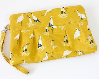 Pleated Yellow Clutch | Crane Print