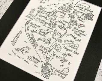 Anchorage Letterpress and Hand painted Map