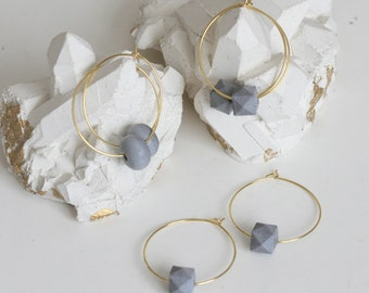 Architectural Concrete Hoop Earrings