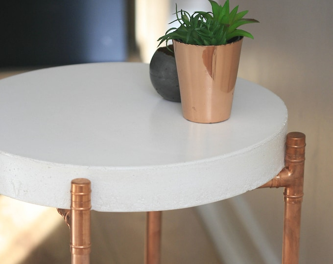 Industrial Concrete and Copper Pipe Coffee Table