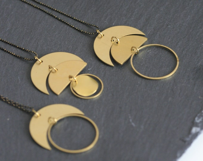 "Geometric Brass ""Moon"" Necklaces 