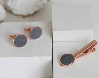 Minimalist Concrete & Copper Tie Clip and Cufflink SET