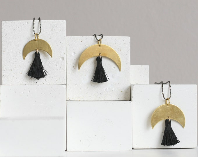 "Geometric Brass ""Moon"" & Tassel Necklaces 