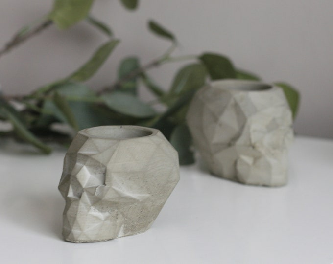 Faceted Concrete Skull Planter/Candleholder | Concrete Home Accessories | Concrete Homeware | Mystic