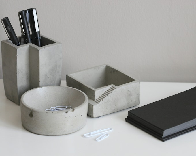 Concrete Desk Storage SET | Office Accessories | Desk Organizers