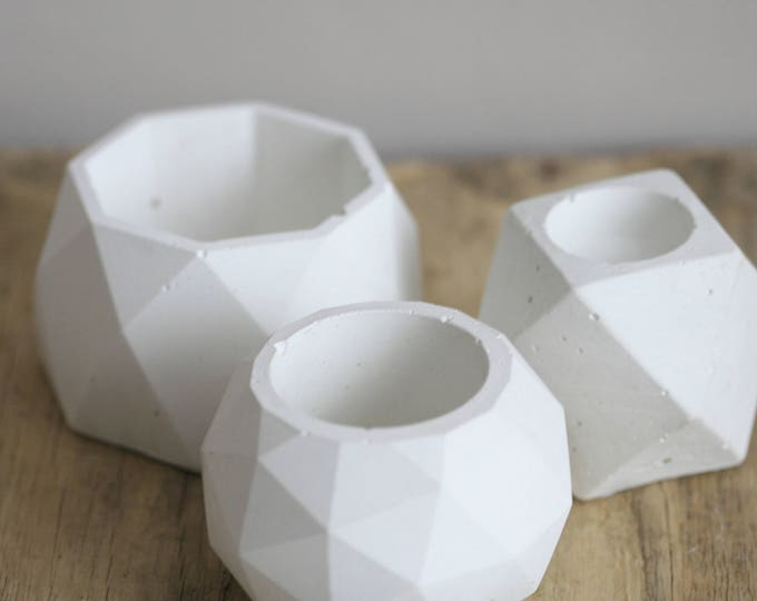 3 piece SET of Faceted White Concrete Decorative Bowl | Planter | Candleholder | Display | Urban | Industrial