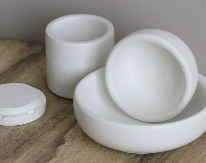4 Piece Set of 2 Round Concrete Decorative Bowls and 1 Concrete Container with Lid | Planter | Candleholder | Display | Urban | Industrial