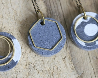 Minimalist Concrete and Brass Necklace | Concrete Beads